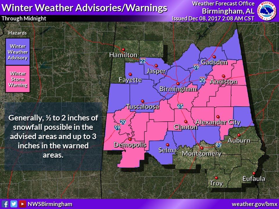 Winter Storm Warning For Parts of Central Alabama (NWS Birmingham)