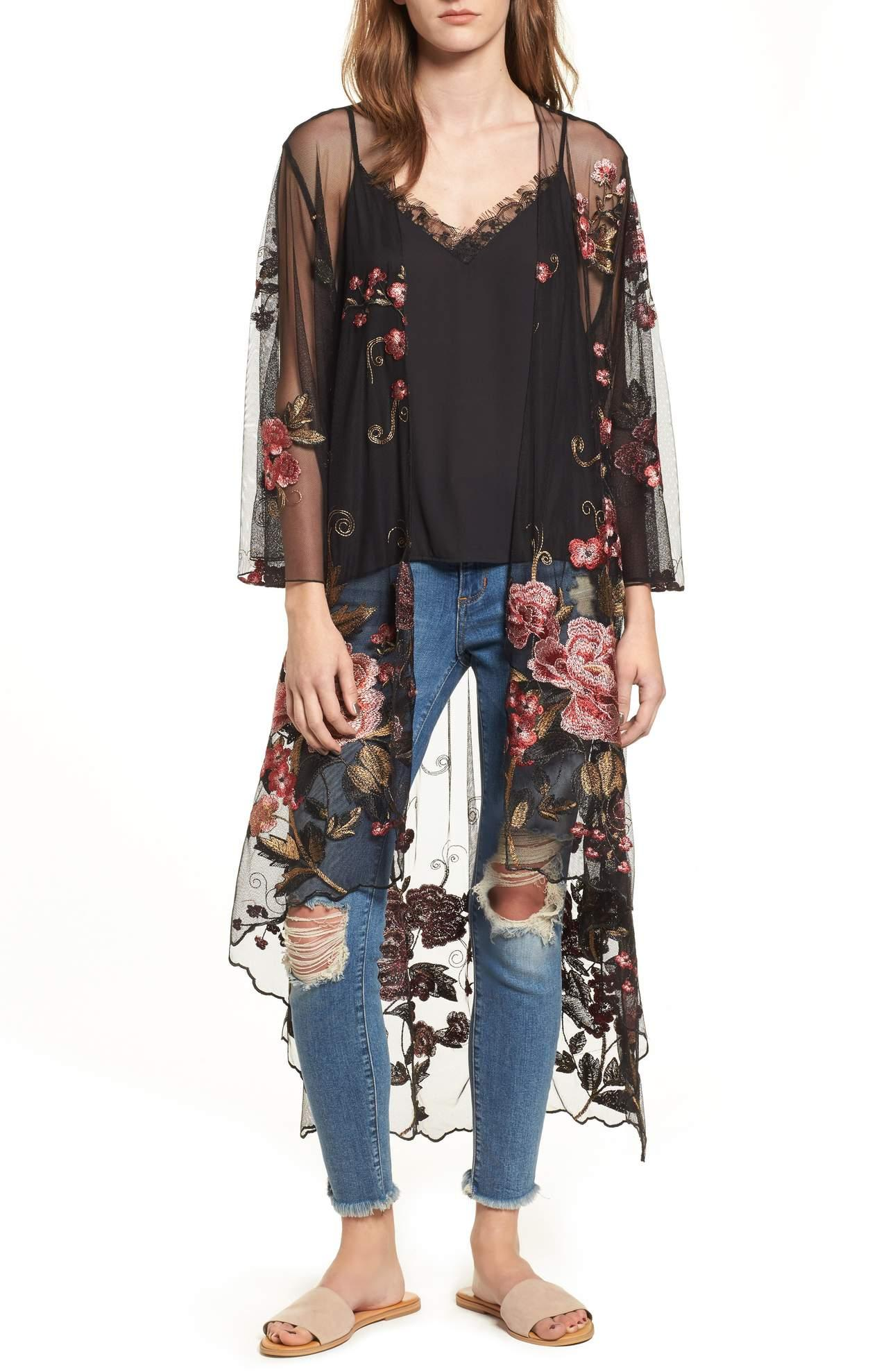 <p>Pair this Sunset Sheer Embroidered Kimono/BAND OF GYPSIES with anything and everything this Spring.{&amp;nbsp;} Romantic embroidered blooms decorate a delicately sheer kimono that mixes boudoir and boho styles with ease. $129.00 at Nordstrom. (Image: Nordstrom){&amp;nbsp;}</p><p></p>