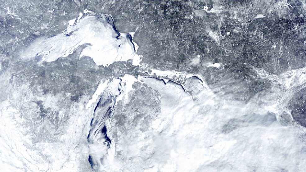 In this Feb. 16, 2014 satellite image provided by the NOAA Great Lakes CoastWatch is the ice cover on the Great Lakes. (AP Photo/NOAA Great Lakes CoastWatch)