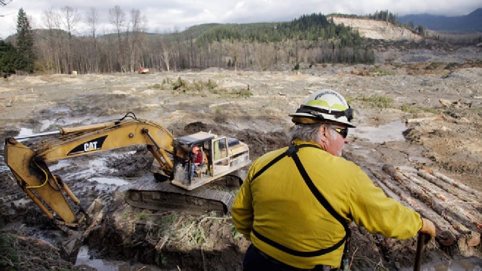 Benton County assistant fire chief Jack Coats surveys the landscape at the scene of a deadly mudslide as an excavator works below to clear a drainage channel, Wednesday, April 2, 2014, in Oso, Wash. (AP Photo/Elaine Thompson)