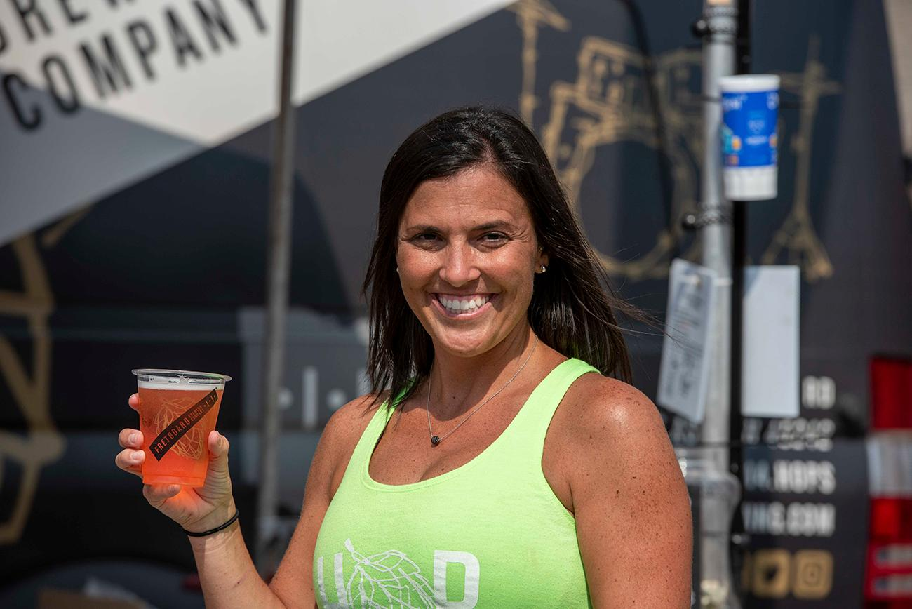 Julie Moreland with the Rockin the Rhine, Oktoberfest lager from Fretboard Brewing / Image: Joe Simon // Published: 9.22.19