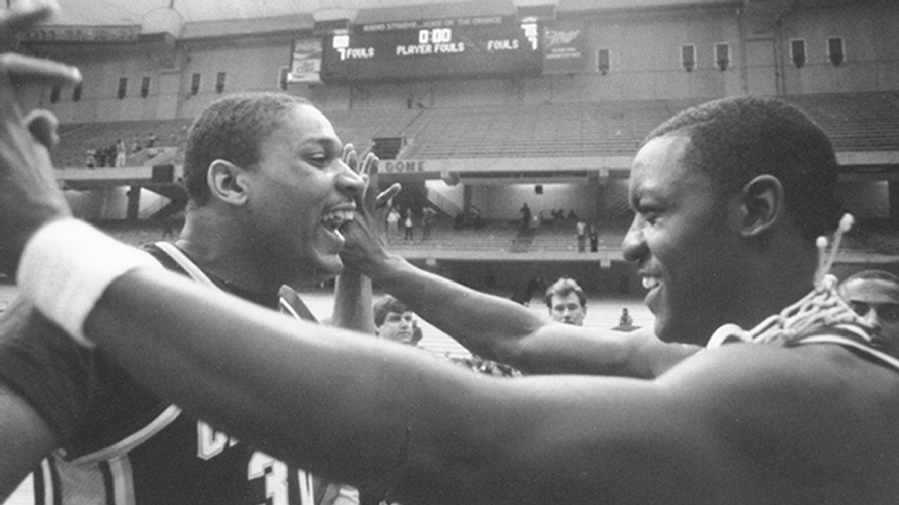 Cleveland State players celebrate their victory against Indiana in the 1986 NCAA Tournament. (Courtesy Cleveland State University Archives)
