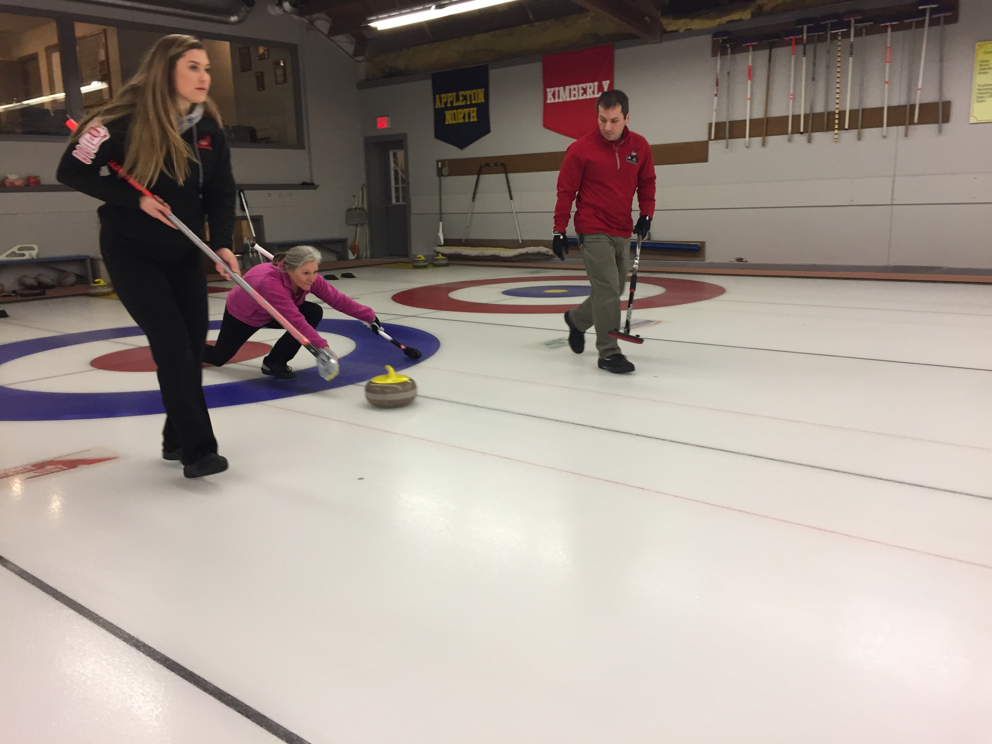 Members of the Appleton Curling Club practicing their skills ahead of the 2018 Winter Olympics, February 8, 2018, (WLUK/Justin Steinbrinck)<p></p>