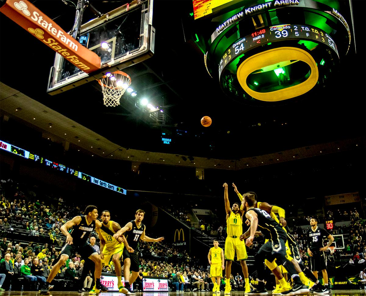 The Duck's Troy Brown Jr. (#0) makes a free throw. The Oregon Ducks defeated the Colorado Buffaloes 77-62 at Matthew Knight Arena on Sunday. Troy Brown had a season-high score of 21 points, Elijah Brown added 17, while Kenny Wooten and Payton Pritchard added 13 and 12 respectively. Oregon is now 1-1 in conference play. The Ducks next face off against the Oregon State Beavers in Corvallis on Friday, January 5th. Photo by August Frank, Oregon News Lab