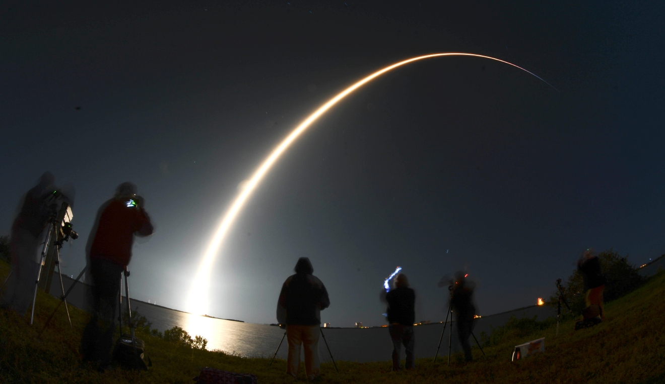 A SpaceX Falcon 9 rocket lifts off from Pad 39A at Kennedy Space Center in Florida, Thursday, March 16, 2017. The rocket, carrying the Echostar XXIII communications satellite was delayed from Tuesday due to high winds. (Craig Bailey/Florida Today via AP)