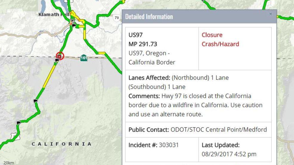 Wildfire closes Hwy 97 near Oregon/California border | KTVL