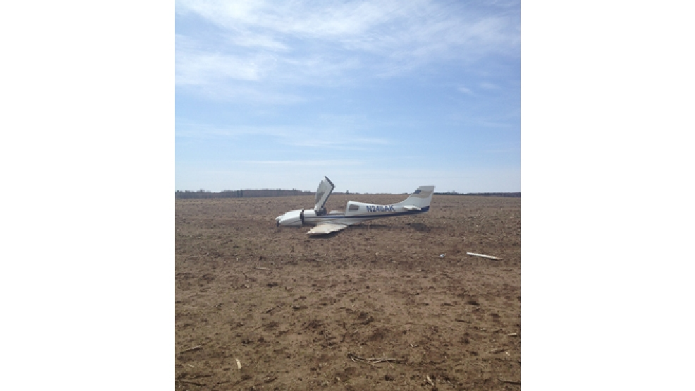 A small plane crashed in a farm field in the town of Stephenson on Tuesday, May 6, 2014. (Marinette County Sheriff's Office)