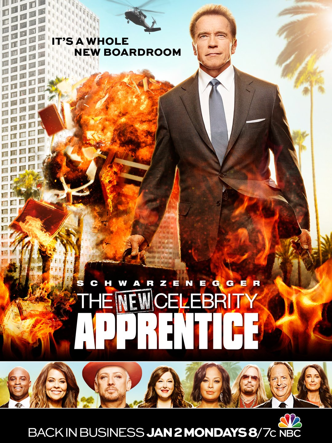 "A poster for the upcoming season of ""The Celebrity Apprentice,"" hosted by Arnold Schwarzenegger. (NBC)"