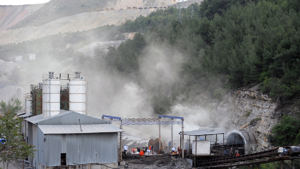The main entrance of the coal mine in Soma, Turkey, Wednesday, May 14, 2014. (AP Photo/Depo Photos)