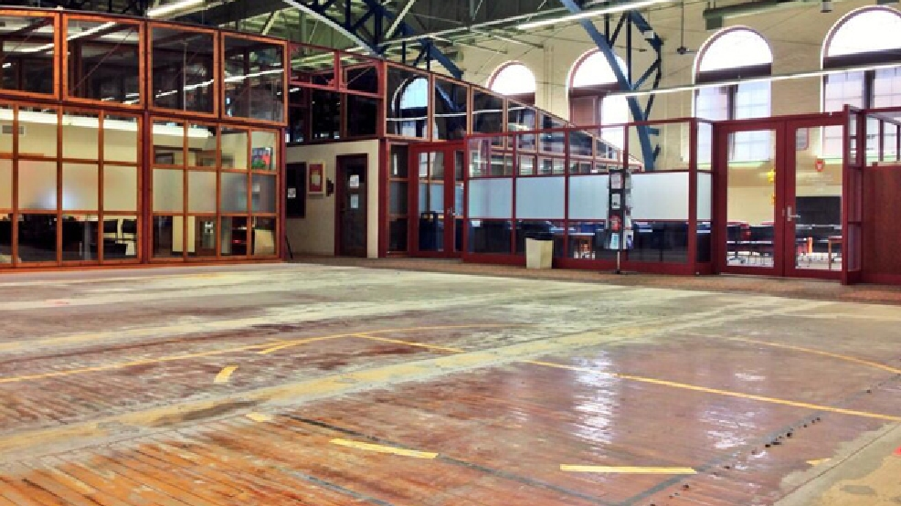 "In this image posted May 22, 2014 on UW-Madison's Twitter account, the basketball floor in the Armory and Gymnasium (""Red Gym"") is exposed during renovations. (Courtesy: UW-Madison/Twitter)"