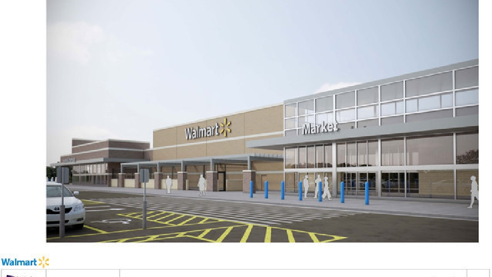 Pictured is an architectural rendering of the front facade of the proposed Broadway Walmart store, submitted to the city on January 6, 2013. The rendering includes updated elements, such as glass paneling, compared to a Sept. 2013 design.