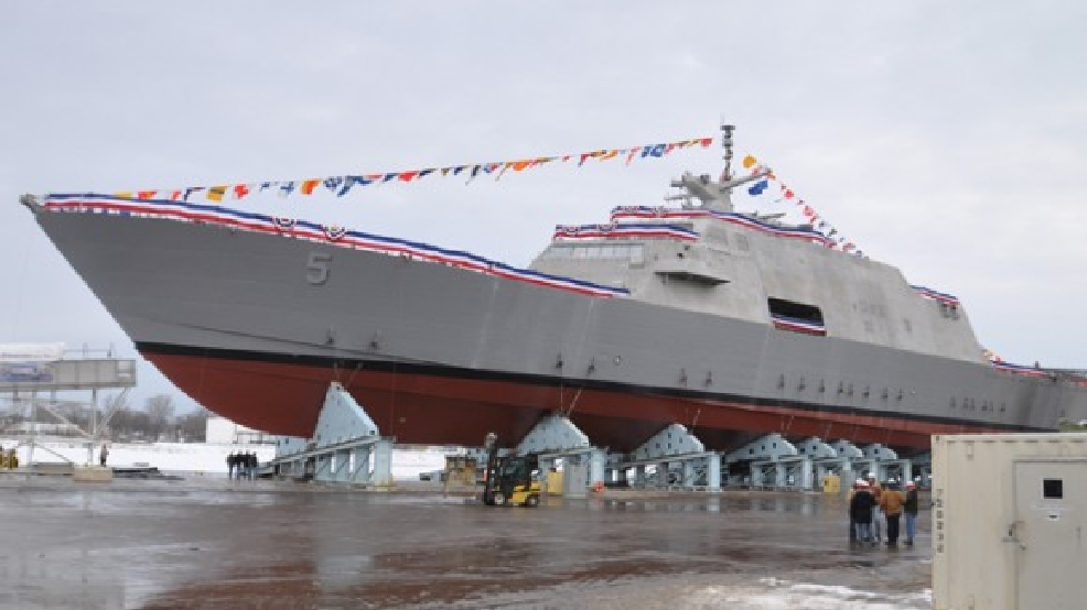 The USS Milwaukee, the U.S. Navy's fifth littoral combat ship, was built at Marinette Marine and launched into the Menominee River, Dec. 18, 2013. (WLUK)