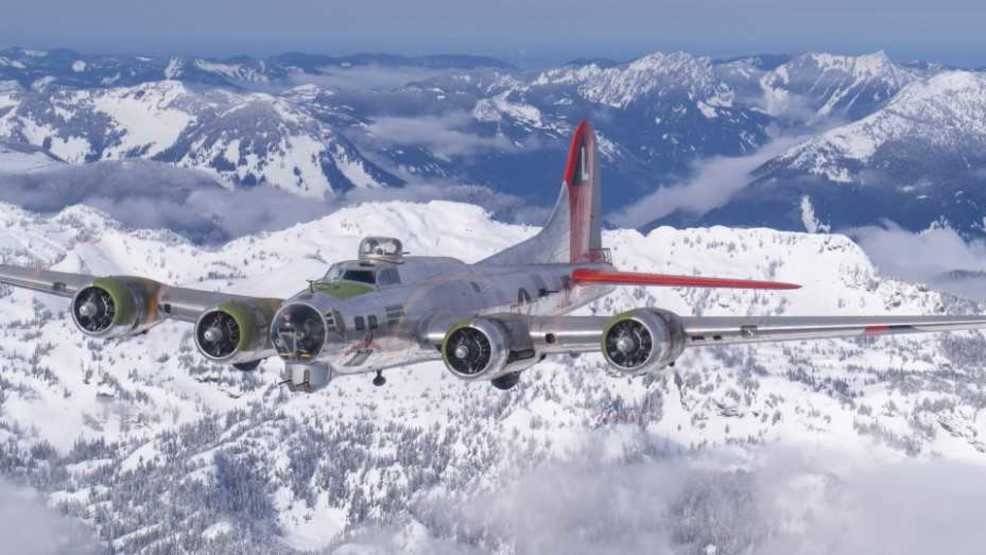 Watch: B-17 makes majestic flight over snow-capped Cascades on cross-state adventure
