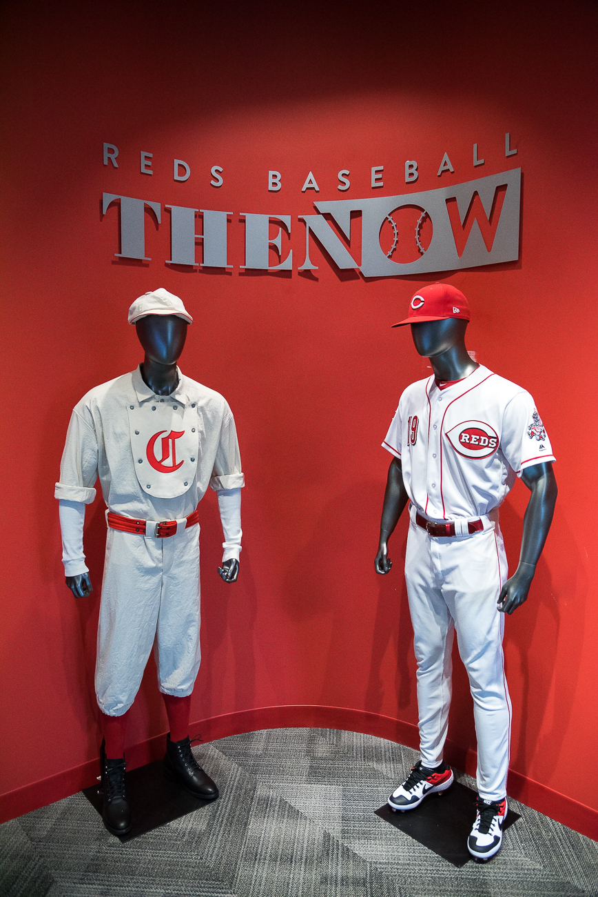 The team's original uniform (1869) and the team's present-day uniform (2019){ }/ Image: Phil Armstrong, Cincinnati Refined // Published: 4.20.19