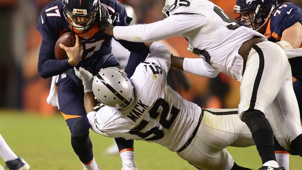 Denver Broncos versus the Oakland Raiders