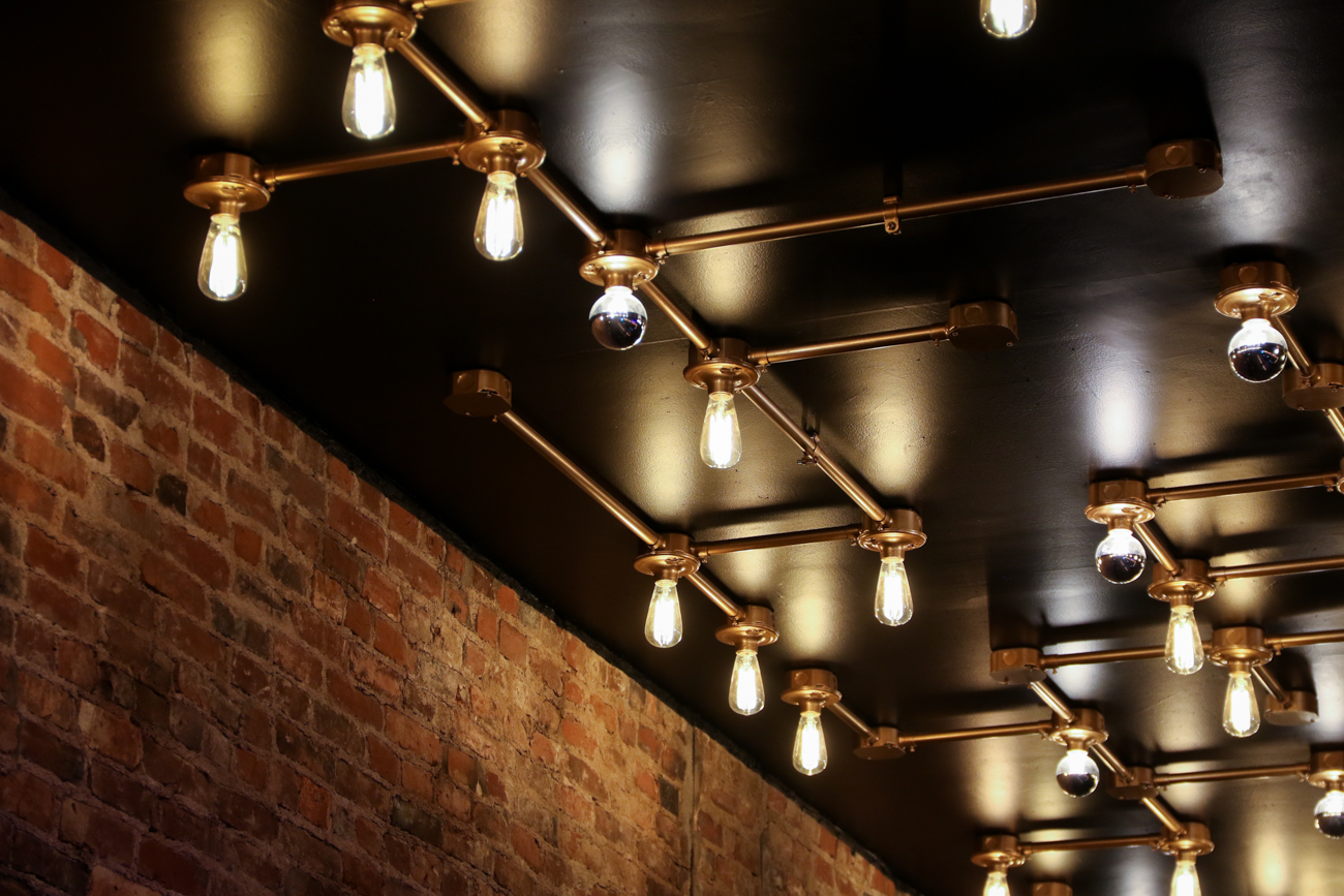 Custom light work on the ceiling of Cobblestone OTR / Image: Ronny Salerno // Published: 1.2.19