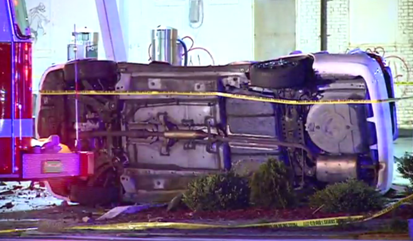 A fiery crash at a gas station in D.C. left one dead and one seriously injured. (Photo, ABC7)