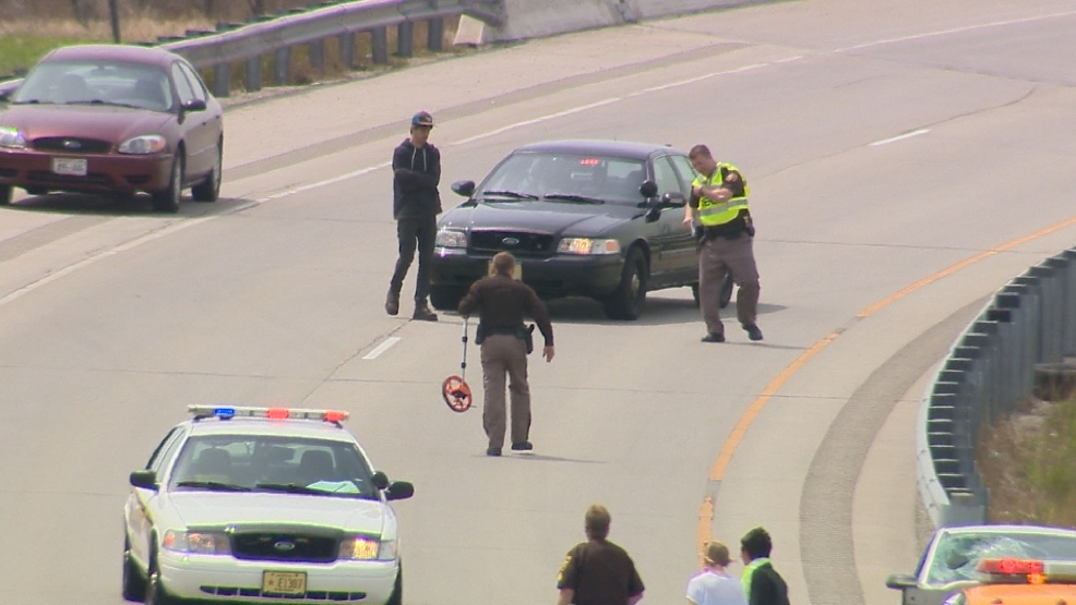 Authorities on scene after a survey crew worker was hit on the Hwy. 172 eastbound ramp on Monday, May 19, 2014. (WLUK)