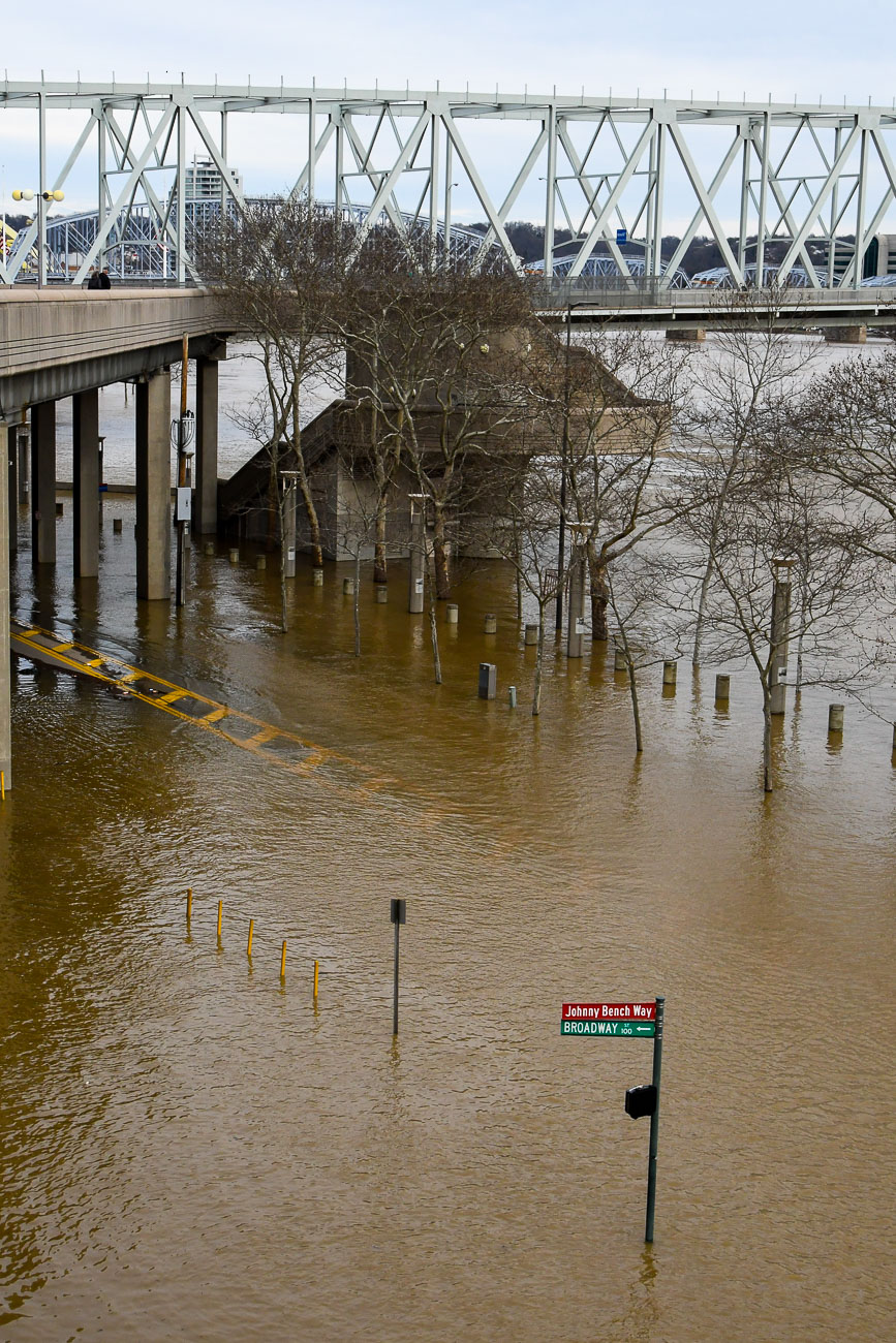 On Sunday, February 25, the Ohio River Flood of 2018 crested just above 60 feet, which is eight feet above the 52-foot flood stage. This is the biggest flood the city has seen since 1997. Smale Park is mostly underwater as are Sawyer Point and Yeatman's Cove. / Image: Sean McGill // Published: 2.26.18