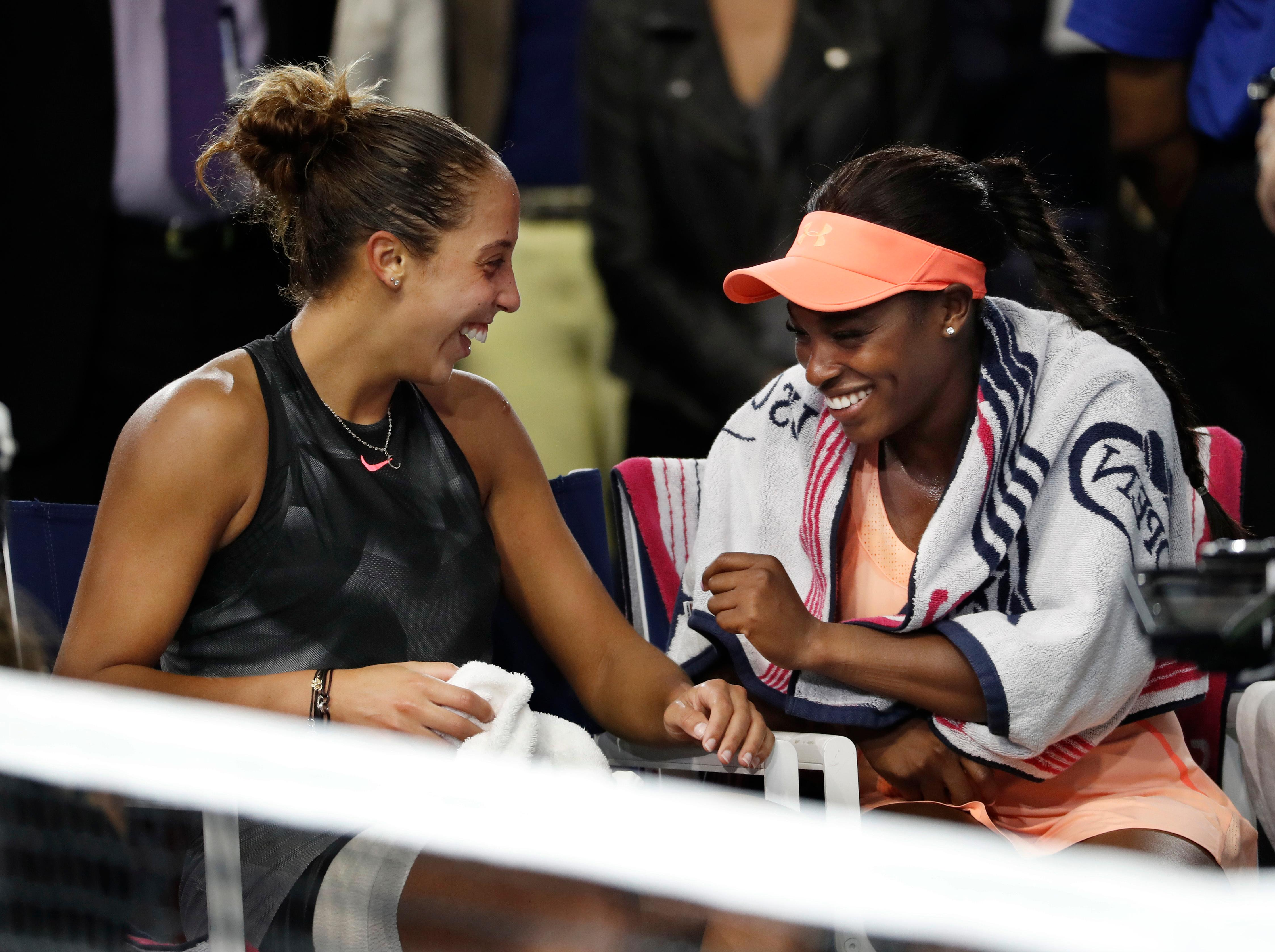 Sloane Stephens, of the United States, right, and Madison Keys, of the United States, talk after Stephens beat Keys in the women's singles final of the U.S. Open tennis tournament, Saturday, Sept. 9, 2017, in New York. (AP Photo/Andres Kudacki)