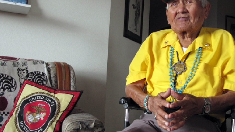 This Nov. 29, 2009 photo shows Chester Nez talking about his time as a Navajo Code Talker in World War II from his home in Albuquerque, N.M. (AP Photo/Felicia Fonseca)
