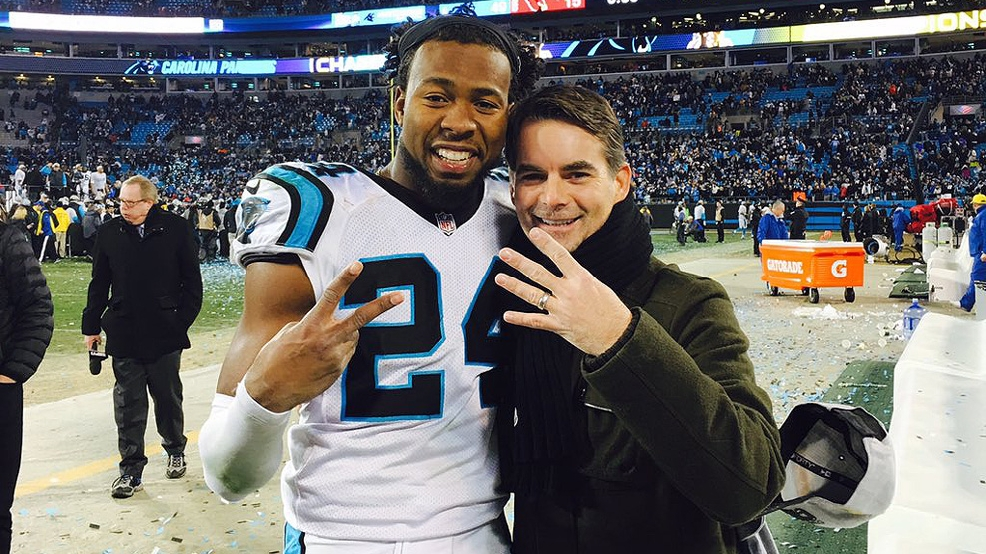 Josh Norman celebrated the Carolina Panthers' NFC Championship on Jan. 22 with former NASCAR driver Jeff Gordon. (Courtesy Jeff Gordon via Twitter)