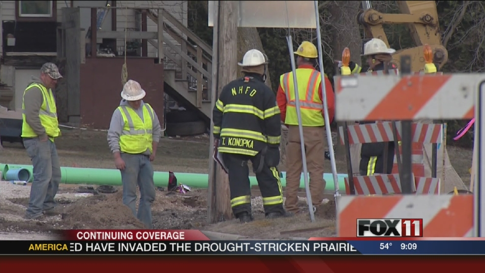 Officials in New Holstein say construction crews struck one of the city's primary gas mains Wednesday afternoon.