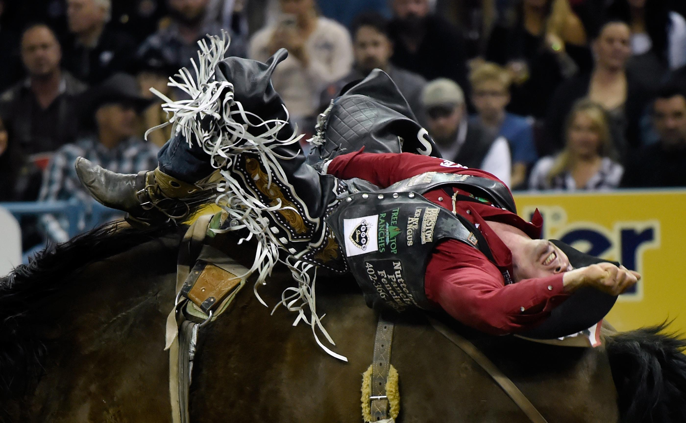 Steven Dent from Mullen, Nebraska, competes in bareback riding during the seventh go-round of the National Finals Rodeo Wednesday, Dec. 13, 2017, in Las Vegas. CREDIT: David Becker/Las Vegas News Bureau