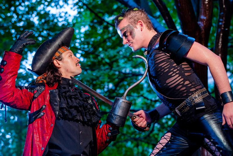 The Adventures of Peter Pan at Synetic Theatre. Alex Mills (Peter Pan) and Ryan Sellers (Captain Hook). (Photo by Johnny Shryock)