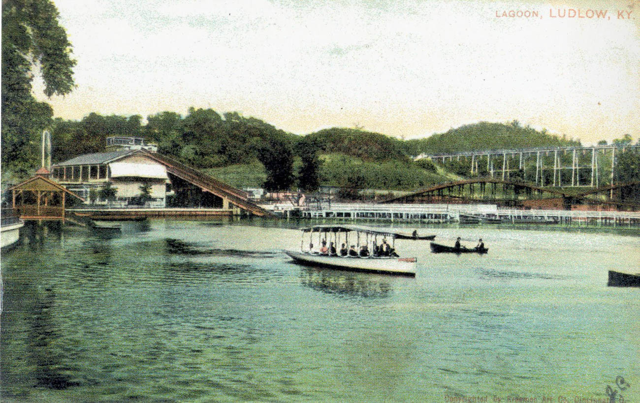 "From 1895 to 1918, one of the nation's largest amusement parks operated in Ludlow, Kentucky. The Ludlow Lagoon Amusement Park sat on an 85-acre, man-made lake where thousands of visitors per day enjoyed swimming, boating, motorcycle racing, dancing, carnival games, animal shows, a ""Scenic Railway"" roller coaster, and performances in one of the nation's first air-conditioned theaters. / Image courtesy of Tom Eickhoff from the ""Faces and Places: Northern Kentucky Photographic Archives"" of the Kenton County Public Library // Published: 6.5.19"