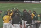 The St. Norbert baseball team huddles up between innings of their NCAA regional game against Concordia-Chicago.