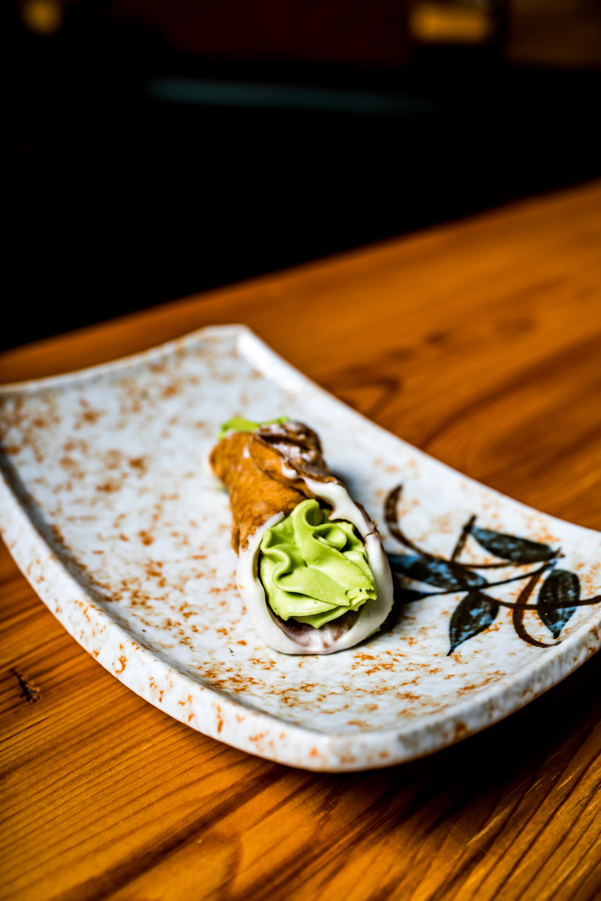 Zundo Ramen & Donburi partners with Del Gardo's of Covington to supply a limited number of matcha green tea cannolis. You can order them Friday-Sunday. / Image: Amy Elisabeth Spasoff // Published: 9.26.18