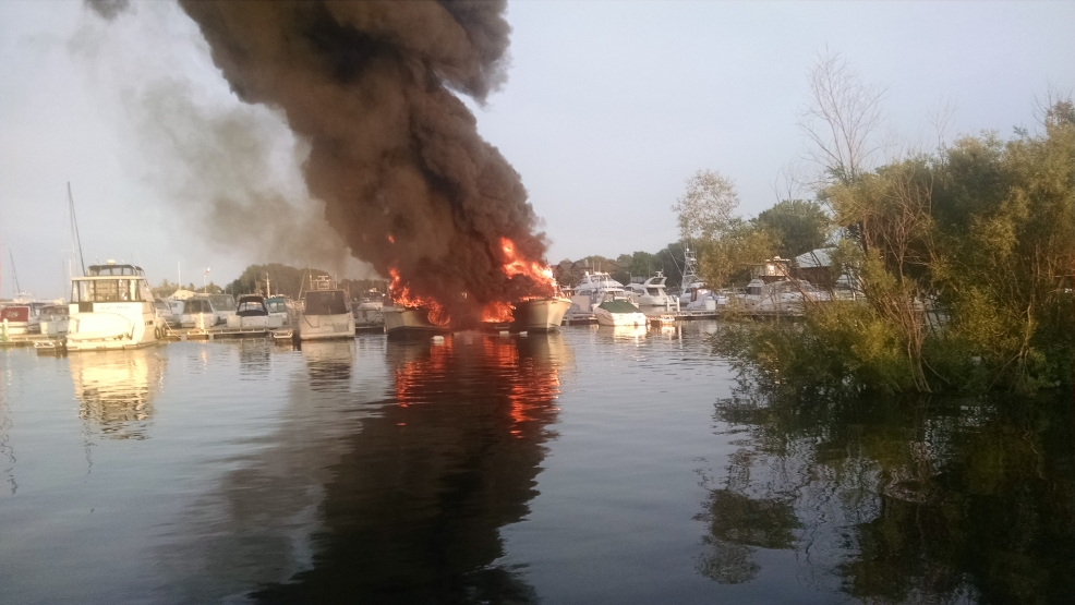 Fire at Quarterdeck Marina in Door County 8/25/14. Picture Courtesy of Dan Schott.