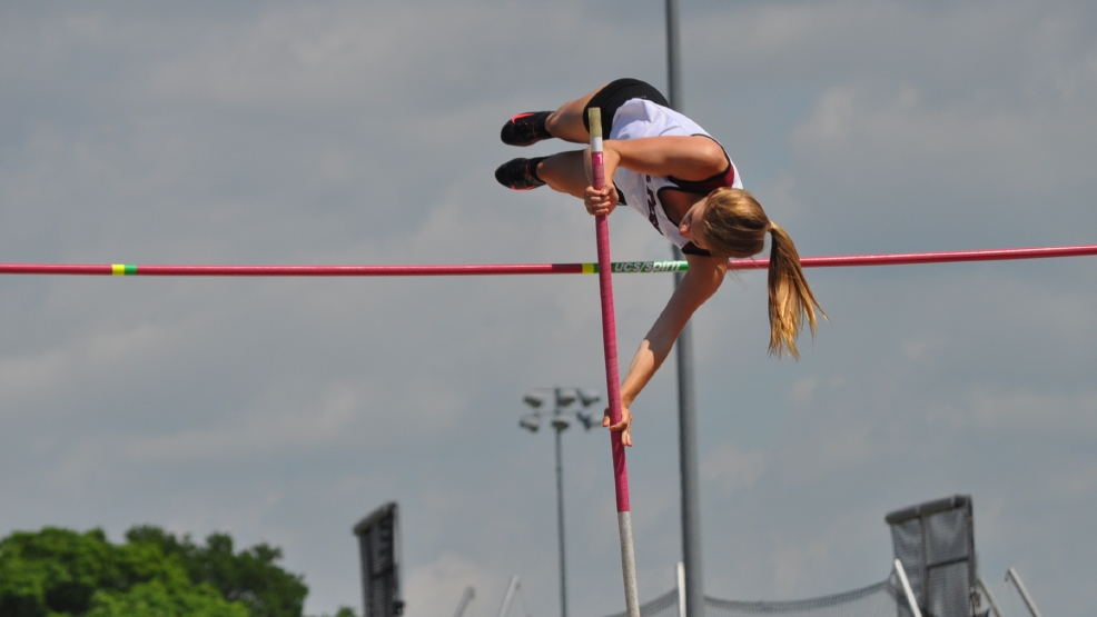 De Pere's Kylie Swiekatowski won the Division 1 girls state title in the pole vault with a height of 12-3. (Doug Ritchay/WLUK)