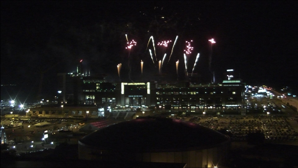 Fireworks light up the sky over Lambeau Field in Green Bay, WI for Packers Family Night.
