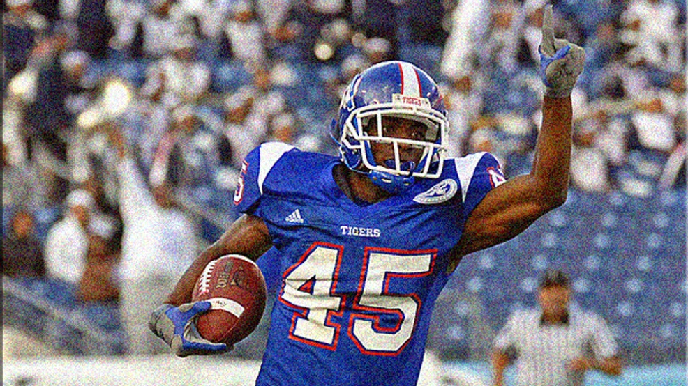 Dominique Rodgers-Cromartie takes an interception to the house for Tennessee State. He also was an Ohio Valley Conference champion sprinter, long-jumper and high-jumper. (Photo courtesy of TSU Athletics)
