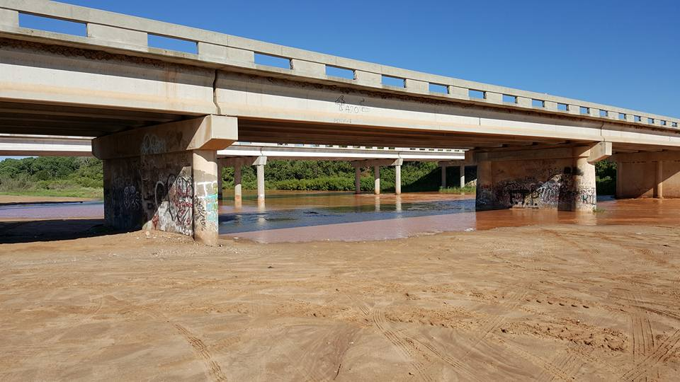Water levels at the Canadian River Bridge on Highway 287/87. The river is at 5.89 feet with around 5,578 cubic feet per second of water flowing by. These are the highest levels since the wet year of 2015. (ABC 7 Amarillo - Steve Kersh)