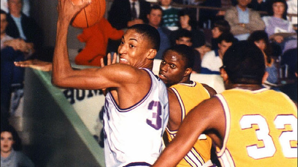 Scottie Pippen earned NAIA All-American honors as a junior and senior at Central Arkansas. (Courtesy UCA Archives)
