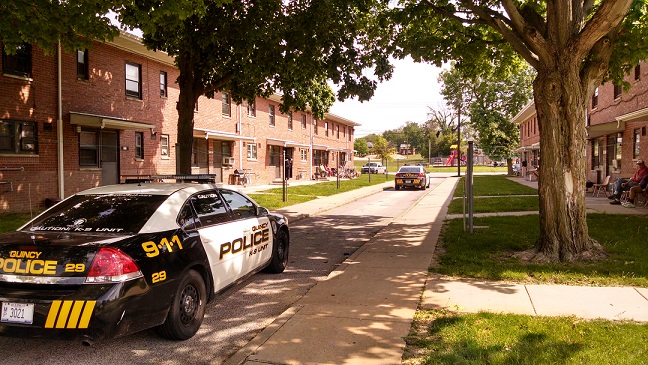 Police investigate a stabbing Tuesday in the 800 block of Lind Street in Quincy.
