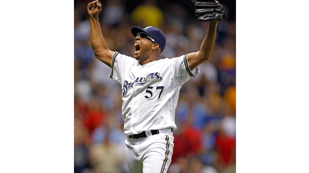 Milwaukee Brewers' Francisco Rodriguez reacts at the final out of the ninth inning against the St. Louis Cardinals during a baseball game, Tuesday, July 17, 2012, in Milwaukee. Rodriguez saved the victory as the Brewers won 3-2. (AP Photo/Jeffrey Phelps)