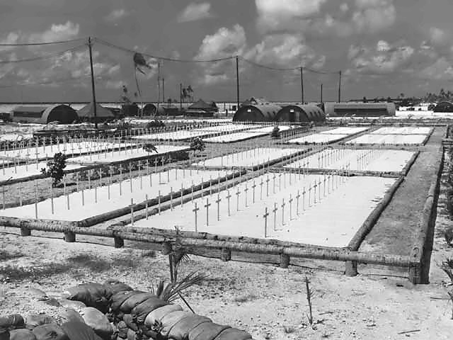 In the immediate aftermath of the fighting on Tarawa, U.S. service members who died in the battle were buried in a number of battlefield cemeteries on the island (Photo: National Archives/U.S. Military)