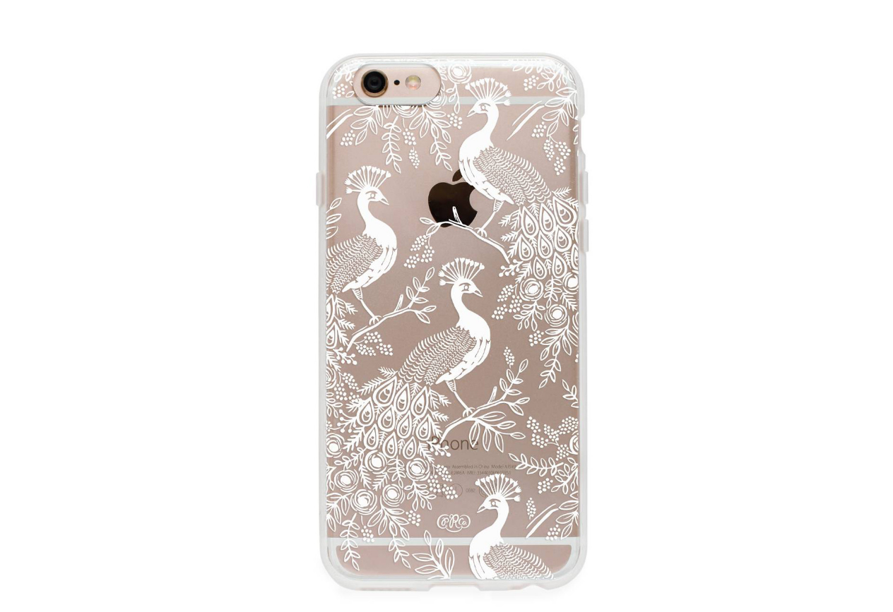 PEACOCK PHONE CASE Designer: Rifle Paper Co. from Moorea Seal Collection ($30.99). Find on mooreaseal.com. (Image courtesy of Moorea Seal Store)