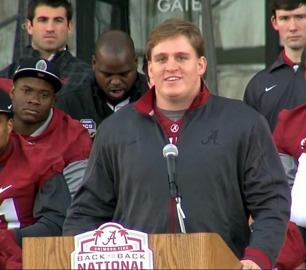 Alabama senior Barrett Jones gave a speech on behalf of his teammates during the BCS National Championship celebration on Saturday, January 19, 2013.