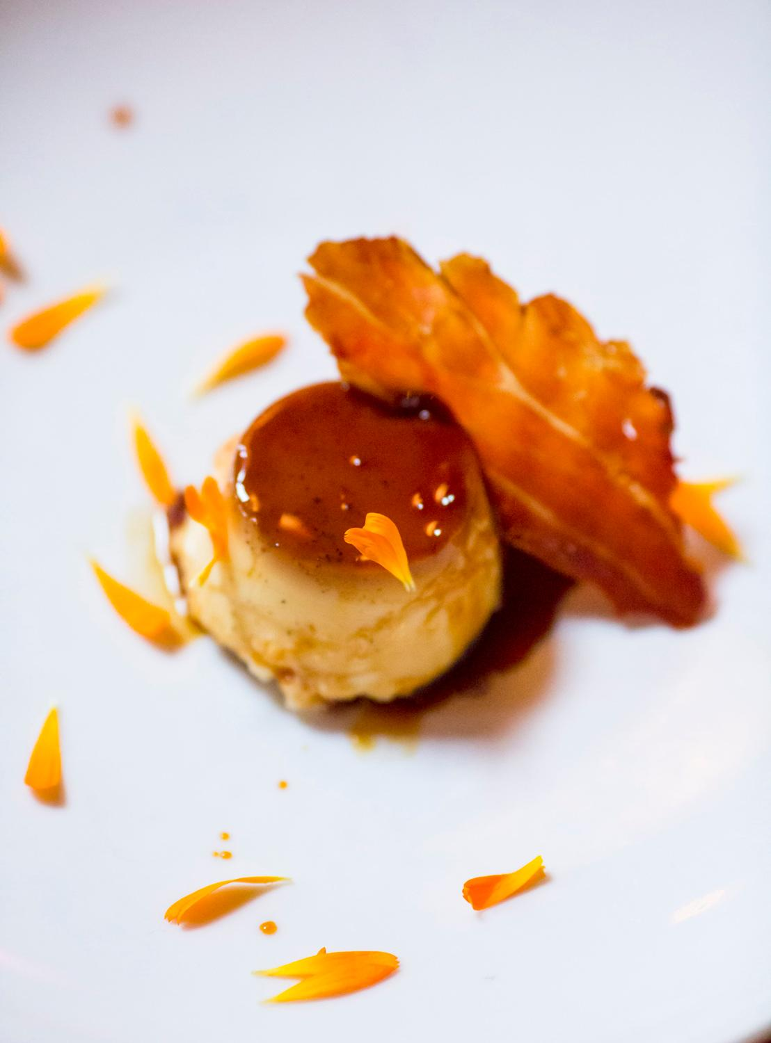 Dolce. Crem Caramel con Prosciutto Crocante, caramel flan with crispy prosciutto.{ }(Image: Sy Bean / Seattle Refined).