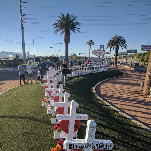 Numbering 58, crosses or Stars of David line the green immediately north of the welcome to Las Vegas sign to honor the victims of the Oct. 1, 2017, shooting at the Route 91 Harvest Festival. (Marvin Clemons | KSNV)<p></p>