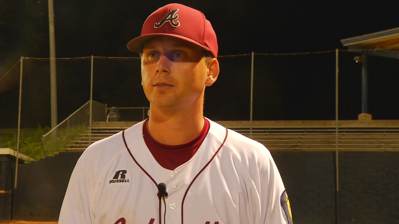 It's been three years since the Asheville Post 70 baseball team has made it to the second round of the American Legion Playoffs. The Cardinals have done it again this year, thanks to new head coach Brian Pegg (pictured) and a star pitcher. (Photo credit: WLOS Staff)