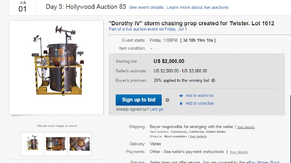 Famous 'Twister' prop up for auction