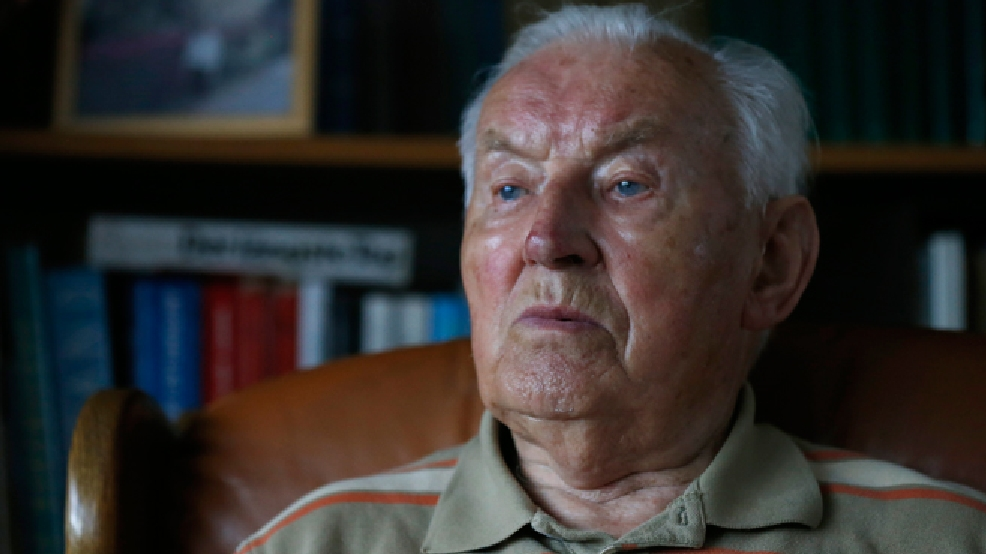 In this file picture taken May 28,2014, German World War II and D-Day veteran Paul Golz speaks in an interview with the Associated Press in his hometown Koenigswinter, Germany. (AP Photo/Frank Augstein)