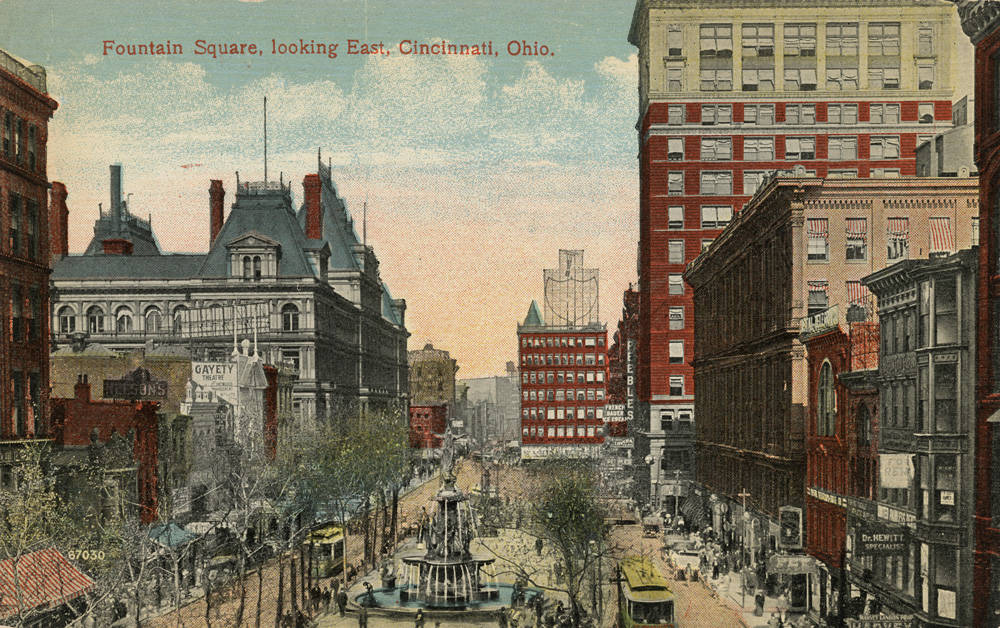From Vine Street looking east down 5th Street / DATE: 1912 / COLLECTION: Public Library of Cincinnati and Hamilton County, Clyde N. Bowden postcard collection / Image courtesy of the digital archive of The Public Library of Cincinnati and Hamilton County // Published: 4.4.18
