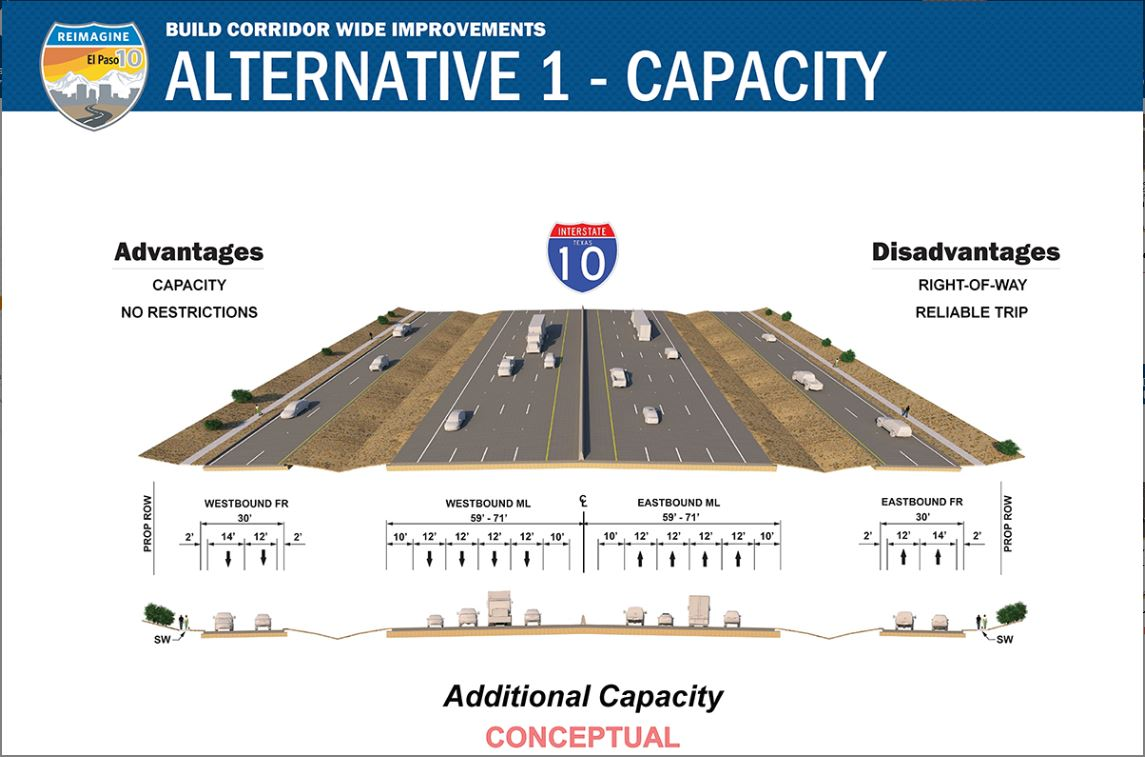 The first, pictured below, focuses on capacity. That includes widening the lanes.
